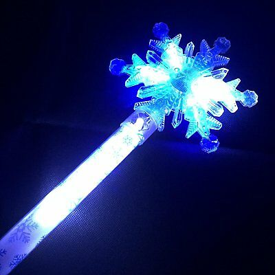 Giant Snowflake Wand - Blue & White LED Flashing Ice Queen Princess Frozen Light