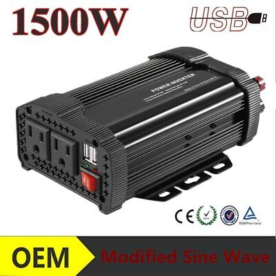 1500W DC 12V to AC 110V Car Auto Power Inverter Charger Converter For#@