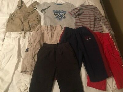Boy's Huge 8-pc. Lot of Clothing size 12 months Pants, Overalls & Long-Sleeves