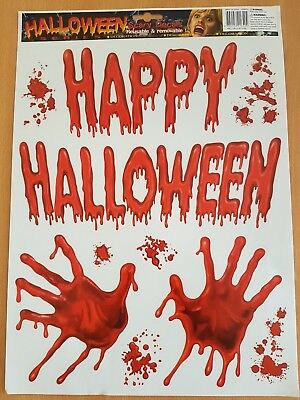 Happy Halloween Blood Hands Wall Scary Decals Vinyl Sticker Living Removable UK