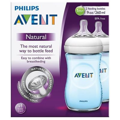 2 Philips Avent Blue Baby Boy Anti-Colic Feeding Bottles Set, 260ml BPA-Free 1m+