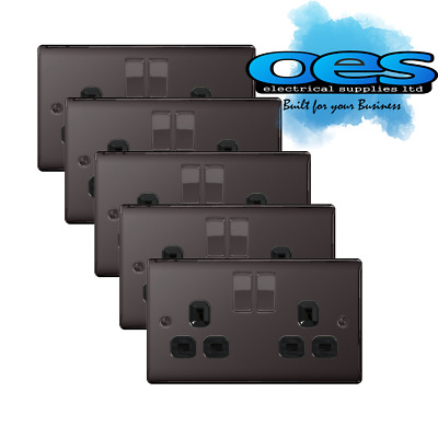 5 x BG Nexus NBN22B Polished Black/Nickel 13Amp Double Plug Socket 2 Gang