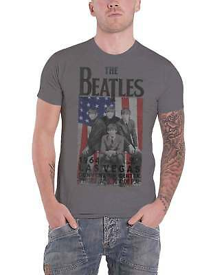 The Beatles T Shirt In concert Las Vegas 1964 flyer new Official Mens Grey