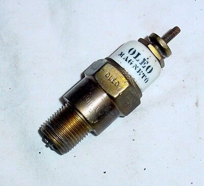 OLEO Magneto Vintage Antique Brass Dome Top Spark Plug With Pickaninny Logo