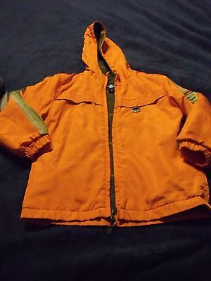 Boys Size 5/6 Orange Colored Zipper Up The Front Jacket With Hood