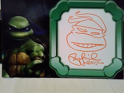 Peter Laird Authentic Sketch & Hand Signed Photo  Teenage Mutant Ninja Turtles