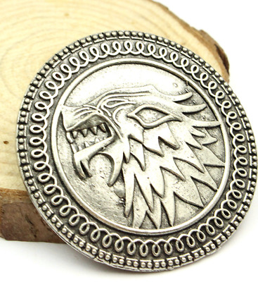 Game of thrones brooch song of ice and fire vintage Stark Wolf badge pin