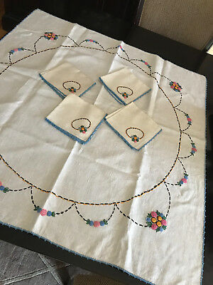Vintage White Linen Hand Embroidered Floral Tablecloth Table Square & 4 Napkins