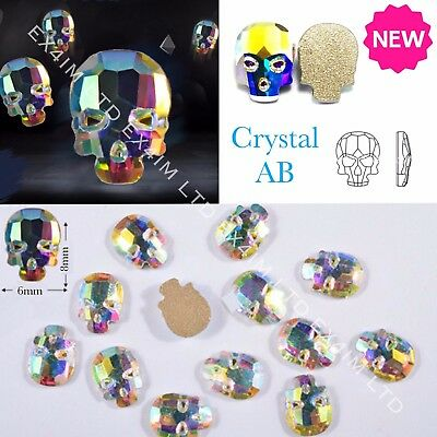 3D Crystal AB SKULL Flat Back Nail Rhinestones Diamond Charms Jewelry Halloween