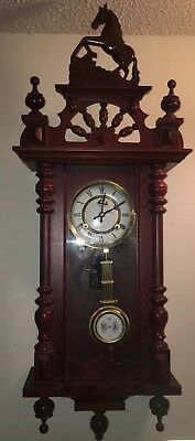 Beautiful Time Mfg. Co. Pendulum Chime Horse Wall Clock, Mint Condition.