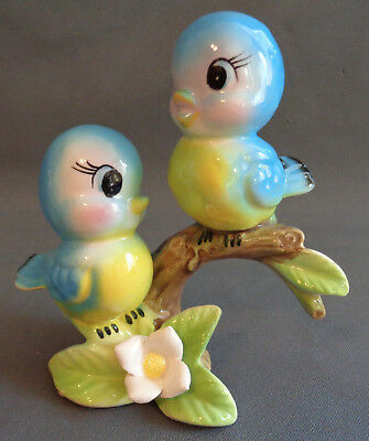 Vintage Ceramic Figurine Anthropomorphic Bluebird Pair on Branch with Flower