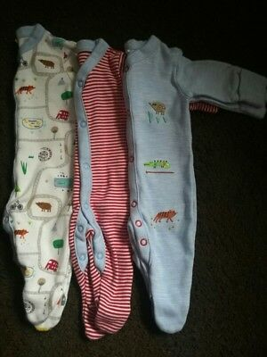 3 x next babygrows sleepsuits first size