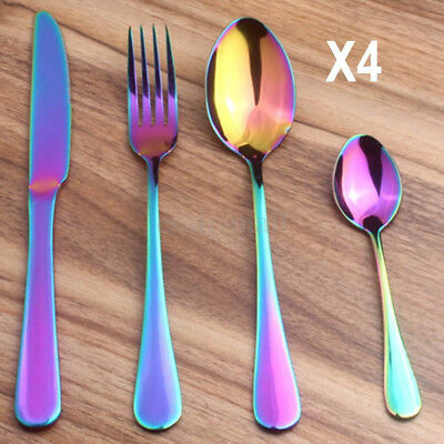 16 Pcs Iridescent Unicorn Stainless Steel cutlery set Unique Dining Knives Forks