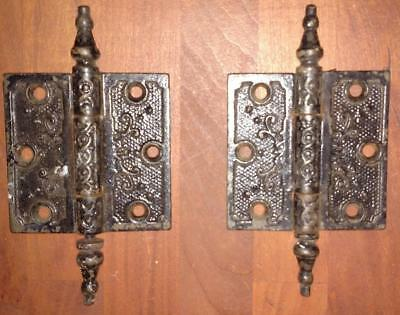 "Pair Vintage Victorian Hinges Steeple Black  3"" x 3""          #E10"