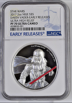 Star Wars Darth Vader Ultra High Relief - 2 Oz. Coin - Ngc Pf 70 Early Releases