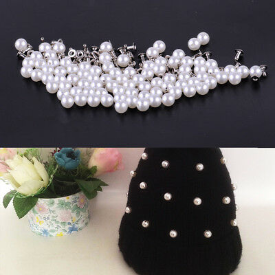 100pcs 6mm Faux Pearls Rivets Studs Buttons Leather Bag Clothes Crafts Jeans DIY