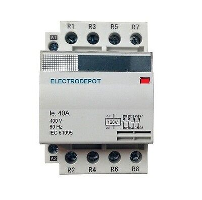 Contactor Normally Closed NC 40A, 4 Pole 120V coil, 40 Amp Lighting IEC DIN 30A