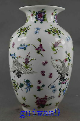 Collectible Handwork Porcelain Paint Vivid Flower Crane Auspicious Luminous Vase