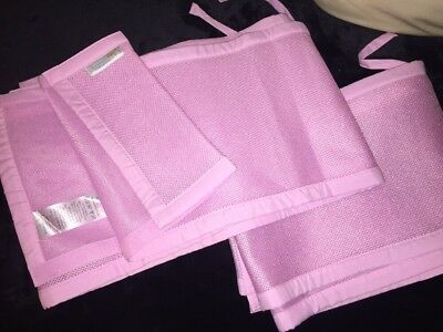 Breathable Baby Cot Mesh Bumper 4 Sided Pink
