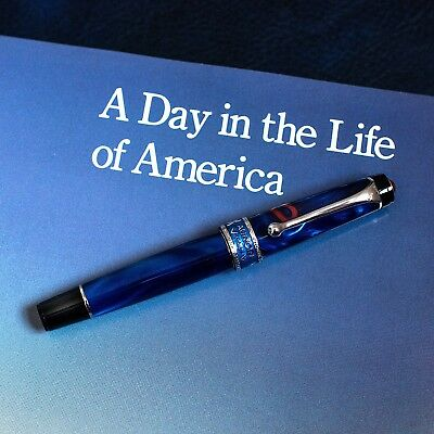 NEW + BOX Aurora Optima America Limited Edition Fountain Pen 18k M Nib