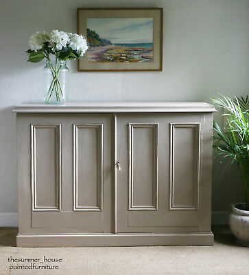 Large Vintage Church Housekeepers Linen Cupboard Painted in Farrow & Ball