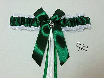 Green and white shamrock four leaf clover Irish bridal wedding garter.