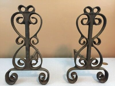 Vintage Antique Wrought Iron Andirons / Firedogs