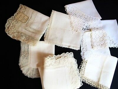 Lot Of 8 Antique Wedding Hankies, French Val Lace, Tambour Net Lace, Signed