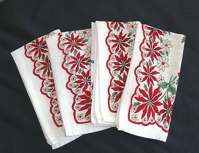 Vtg Christmas Napkins Set of 4 Poinsettias Holly 18 x 20 Table Ware Sewing Craft