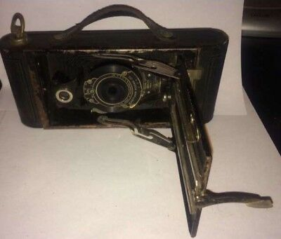 Vintage Kodak No. 2 Folding Cartridge Hawk-Eye Model B Folding Camera w/Case
