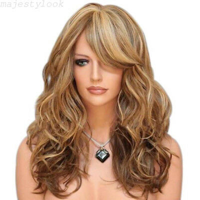 Fashion Womens Blonde Long Wavy Curly Hair Synthetic Cosplay Full Wig Wigs Party