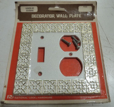 NOS Vintage Mid Century Double Switch Plate-White Gold Hollywood Regency