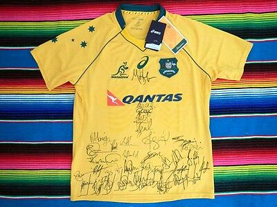 ✺Signed✺ 2017 QANTAS WALLABIES Rugby Jersey PROOF COA 35 Autographs Australia