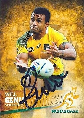 ✺Signed✺ 2016 WALLABIES Rugby Union Card WILL GENIA