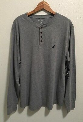 Nautica Sleepwear Men's Long Sleeve Henley Shirt Light Gray Large NWT