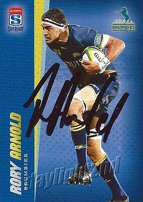 ✺Signed✺ 2017 ACT BRUMBIES Rugby Union Card RORY ARNOLD