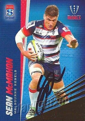 ✺Signed✺ 2017 MELBOURNE REBELS Rugby Union Card SEAN MCMAHON Gold