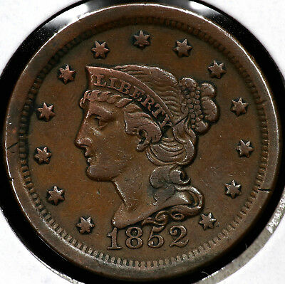 1852 Braided Hair Large One Cent #1