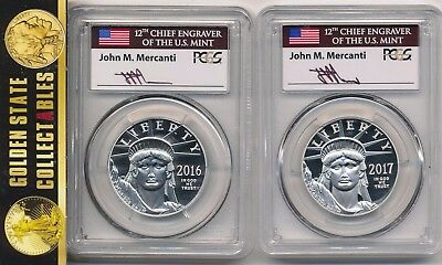 2016 & 2017 W PROOF PLATINUM EAGLES MERCANTI PCGS First Strike PR70 DCAM 2COINS