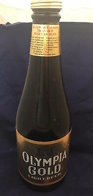 "RARE EXTRA LARGE Olympia Gold Light Beer Brown BANK  Glass Bottle 21"" 2 GALLONS"