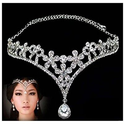 Wedding Bridal Women's Crystal Flower Decor Crown Headband Headdress Tiara