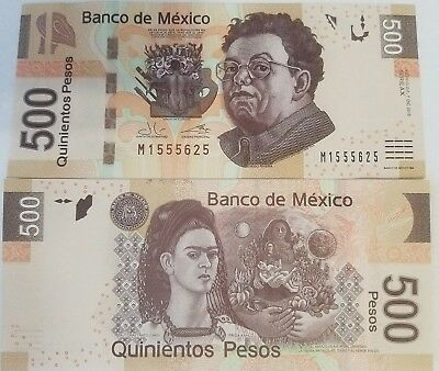 MEXICO 500 Pesos Legal Currancy Diego Rivera UNC Currency Note 2015 Polymer BILL