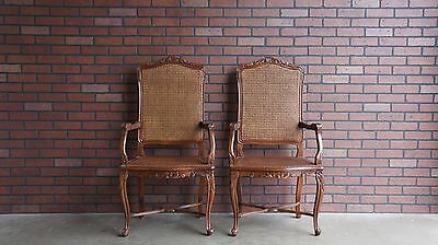 French Provincial Dining Chairs / Host Chairs Chairs / Cane Chairs ~ Set of 2