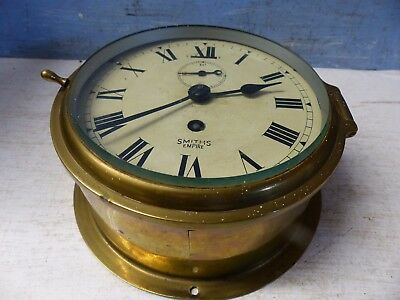 Very Old Smiths Brass Cased Ships Clock - Rare - L@@k