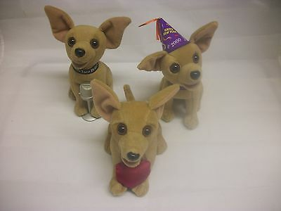 3 Taco Bell Talking Dog Chihuahua Stuffed Animal Vintage