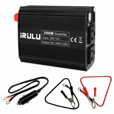 iRULU 300W Dual USB Microprocessor Power Inverter Car Charger for DC 12V iPad PC