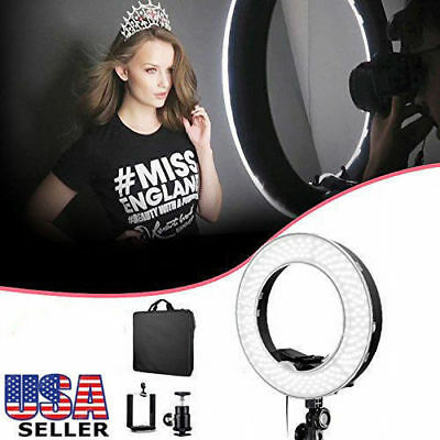 """19"""" 55W 240PCS LED SMD Dimmable 5500K Ring Video Light W/Color Filter Stand Kit"""