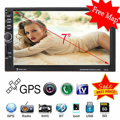 """7"""" HD Touch Screen Double 2 DIN Car GPS Stereo DVD Player Bluetooth Radio+ Map"""