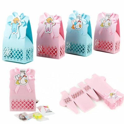12X Baby Shower Favours Candy Paper Boxes Bag Boys Girls Wedding Party Decor S