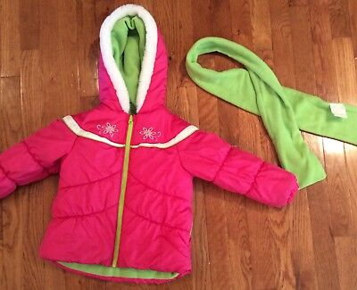 Girls Medium 5-6 Coat By London Fog Color Pink with Green Scarf